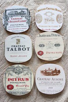 Sous-verres Grand Cru Bordeaux -  étiquettes grand cru - esprit Shabby chic