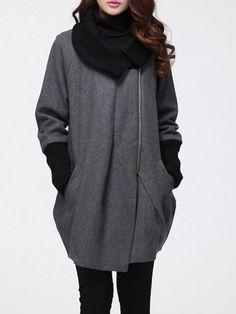 Asymmetrical Hems Comfortable Turtleneck Coat