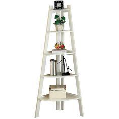 "Hokku Designs Kala 63.25"" Ladder Bookcase ($154) ❤ liked on Polyvore featuring home, furniture, storage & shelves, bookcases, ladder bookcase, modern book shelves, modern furniture, ladder book case and mod furniture"