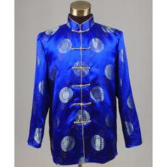 Royal Blue Silk Retro Vintage Chinese Tang Dress Jackets for Men SKU-123251