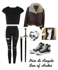 """""""Nico di Angelo son of Hades"""" by squidney12 ❤ liked on Polyvore featuring Moda International, Topshop, Alice + Olivia, Delphine Leymarie and Converse"""