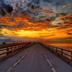 Sky on fire above Florida's Seven Mile Bridge. Photo courtesy of eachapman4 on Instagram.