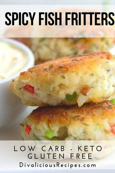 These fish fritters are influenced by our time in the Caribbean with a flavouring of ginger, chilli and thyme.   They are made without a batter and are paleo and low carb too.  #fish #keto #lowcarb #paleo #caribbeanfood #appetizer #ketoappetizer Low Carb Summer Recipes, Low Carb Dinner Recipes, High Protein Recipes, Protein Snacks, Keto Dinner, Low Carb Appetizers, Appetizer Recipes, Seafood Appetizers, Low Carb Lunch