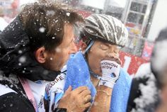 Carlos Betancur at the finish of Tre Cime