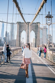 Gal Meets Glam Brooklyn Bridge -Paper Crown sweater, Rachel Antonoff skirt, Sam Edelman boots c/o Lord & Taylor, Fendi bag & Ray Ban Sunglasses