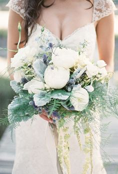 just barely purple - White Peony Bouquet with Thistle. A classic bouquet comprised of white peonies, dusty miller, and thistle, created by Rebecca Rose Events. Dusty Miller, Purple Wedding Bouquets, Flower Bouquet Wedding, Rose Bouquet, Wedding Dresses, Modern Wedding Flowers, Floral Wedding, White Peonies Bouquet, Purple Peonies