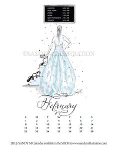 February 2015 Calendar Illustration by Fashion Illustrator SANDY M ... have you ever been so excited about something that you feel that sparkling jeweled confetti surely MUST be falling all round you?   January's over and we're bringing February's beauty out.  She imagines confetti falling all around her as she stands in an airport concourse in her fabulous Oscar de la Renta gown and contemplates where to head off to next! #fashionillustration #fashion #sandymillustration #calendar #sandym