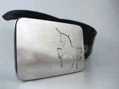 Unicorn Belt Buckle  Etched Stainless Steel  by RhythmicMetal, $60.00