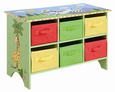 Safari Storage Cubby Base Set Children Room Design 6 Canvas Drawers Bedroom Toys