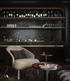 Lobby 33 on Behance Bar Interior, Interior Design, Modern Home Bar Designs, Bar Sala, Small Bars For Home, Kitchen Bar Design, Bar A Vin, Luxury Bar, Home Bar Decor