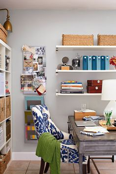 Keep your bookshelves in check with baskets and bins. In a craft room or home office, storage baskets can easily corral loose items, such as fabric samples, paint swatches, and project folders. #storage #basketstorageideas #bookshelf #homeofficeorganization #bhg Home Office Space, Home Office Design, House Design, Office Spaces, Office Style, Desk Office, Office Setup, Office Decor, A Thoughtful Place