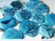 Cute blue fused glass pendants
