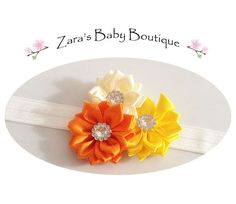Girls Rainbow Headband * Colorful Headband * Flower Headband * Baby Headband * Red * White * Black * Orange * Blue * Zara's Baby Boutique by ZarasBabyBoutique on Etsy