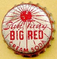 Sun Tang Big Red Cream Soda, bottle cap | The Perfection Co. Ltd., Waco, Texas USA | cap used 1966 | This is a highly popular drink in the deep South and is now simply called Big Red. It is now produced and distributed by Dr. Pepper/Seven Up, Inc. under license from Big Red, Ltd., based in Waco, Texas. Big Red was founded in 1937 in Waco by Grover C. Thomsen and R.H. Roark. The two created the soft drink, Sun Tang Red Cream Soda which is generally classified as an American variety of cream…