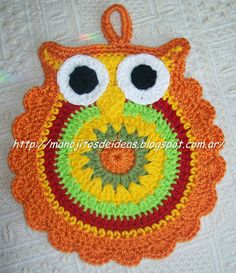 Crochet owl potholder. Owl Crochet Patterns, Potholder Patterns, Crochet Owls, Crochet Potholders, Crochet Flowers, Crochet Kitchen, Crochet Home, Diy Crochet, Crochet Crafts