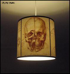 Da Vinci's Creed Skull pendant lamp shade lampshade - skull lamp, halloween, human anatomy, steampunk lighting, assassin's creed, drum shade...