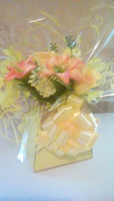 Yellow n orange mothers day arrangement