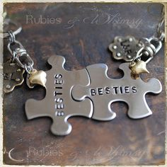 Set of 2 Personalized Keychains, Best Friend, Puzzle Piece, Gift for Friend, Purse Charm, BFF, Friendship Gift, Couples, Sisters, Valentines