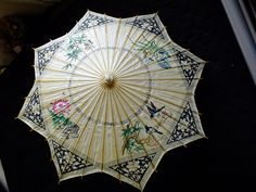 Vintage Bamboo Star Shaped Chinese Parasol - Painted Bugs / Birds / Butterfly