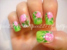 Neon spring floral nails