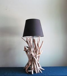 EN STOCK - bois flotté lampe avec Sculpture en bois flotté et Base noire, 18 »…