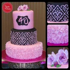 Pink and black 40th birthday cake by Treats by Tricia made with our Filigree Damask Silicone Onlay