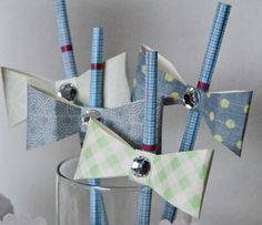 Baby Shower Bow Tie Straw Accents