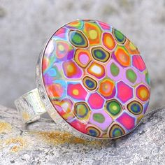 Micro Mosaic Polymer Clay Ring  by purplecactusstudios