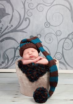 Knitted baby hat pattern striped fat elf hat 0 to 3 months loom pattern  $5.50