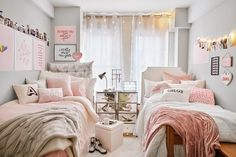 Shop Dormify for the hottest dorm room decorating ideas. You'll find stylish college products, unique room and apartment decor, and dorm bedding for all styles. Shared Girls Bedroom, Dorm Room Designs, Room, Pink Dorm Rooms, Room Decor, Bedroom Design, College Dorm Room Decor, White Dorm Room, Apartment Decor