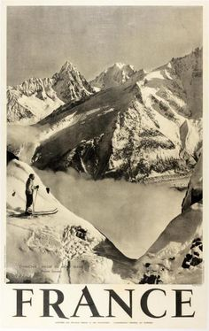 1930s Chamonix, France Ski Poster