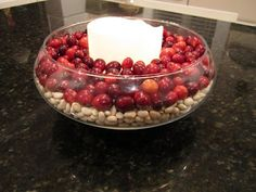 Ideas for IFC Thanksgiving Dinner this year: Dried beans or nuts beneath cranberries with a candle and maybe ribbon