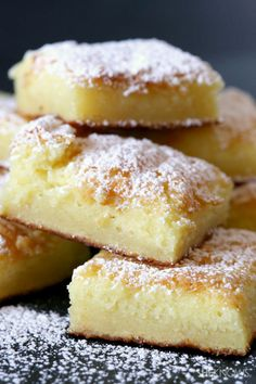 2 ingredient lemon cake bars..1bx angel food cake mix, 22oz can lemon pie filling, Powdered sugar (opt) Heat oven 350* & spray 9 x 13 pan w/cooking spray. In a large bowl, stir together cake mix+pie filling. Once fully mixed, spread into pan & bake about 35min, until fully cooked & top is lightly browned. Let cool, cut into bars, & if desired, sprinkle w/powdered sugar.