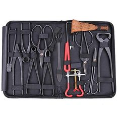 Bonsai Tool Set Carbon Steel Extensive 14pc Kit Cutter Scissors W Nylon Case ** You can find more details by visiting the image link.