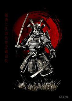 Bushido Virtudes escritas en kanji a la izquierda, Samurai listo para luchar • Also buy this artwork on wall prints, apparel, stickers y more.