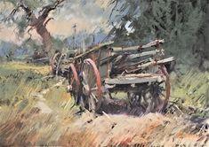 Farm Wagon,Cavendish-Pastel 47 x 68 cm-On site Nov. 2015 Australian Painting, Australian Art, Landscape Art, Landscape Paintings, Outdoor Cafe, Cool Landscapes, Studio Portraits, Watercolor And Ink, Workshop