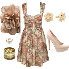 Tan Floral, created by andem120 on Polyvore