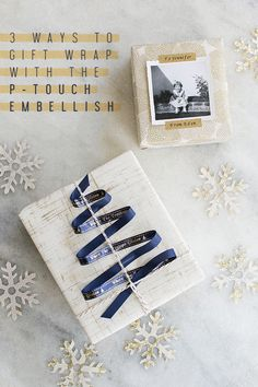 3 Ways to Gift Wrap with the P-Touch Embellish #giftwrap #p-touch #christmas #holidays #gifts