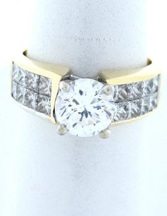 2.00ct DIAMOND PRINCESS HEAVY ENGAGEMENT RING 18K YELLOW GOLD MOUNT SETTING