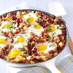 Corned Beef Hash and Eggs Recipe -Sunday breakfasts have always been special in our house. It's fun to get in the kitchen and cook with the kids. No matter how many new recipes we try, they always rate this breakfast No. 1! —Rick Skildum, Maple Grove, Minnesota