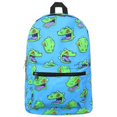 RUGRATS REPTAR BACKPACK ($50) ❤ liked on Polyvore featuring bags, backpacks, mini zipper bags, blue bag, mini backpack, padded backpack and padded bag