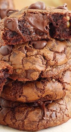 Soft and Chewy Triple Chocolate Fudge Cookies Recipe ~ A chocolate lover's dream come true!