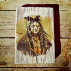 """Купить Интерьерное панно """"Вождь Амитола """" - разноцветный, панно индейцы, индейский стиль, индеец"""