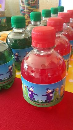 Red, Yellow, Green & Purple Teletubbies Cooldrink Bottles