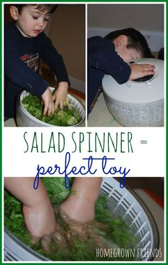 So many learning opportunities for children with a salad spinner!