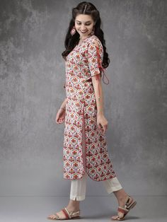 Best 11 Buy Anouk Women White & Red Printed Straight Kurta – Kurtas for Women 2472850 Printed Kurti Designs, Churidar Designs, Simple Kurta Designs, Kurta Designs Women, Sleeves Designs For Dresses, Dress Neck Designs, Sleeve Designs, Pakistani Dresses Casual, Pakistani Dress Design