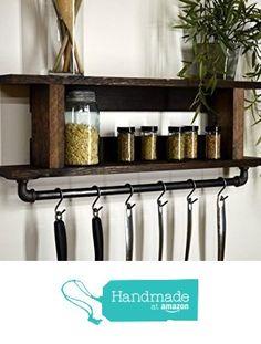 Handmade Rustic Kitchen Pot Rack Spice Rack Industrial Cast Iron Pipe Towel Bar Pan Hooks Dark Walnut from RusticModernDecor https://www.amazon.com/dp/B01IU6E8OE/ref=hnd_sw_r_pi_dp_rH7lybV9R1XCJ #handmadeatamazon