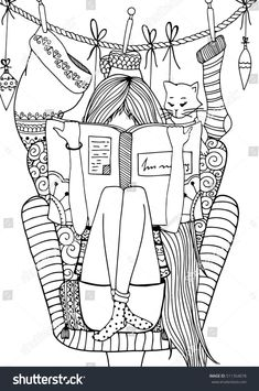 Vector illustration zentangl girl sitting in a chair reading a book. Doodle draw… Vector illustration zentangl girl sitting in a chair reading a book. Adult Coloring Pages, Cute Coloring Pages, Coloring Books, Doodle Art Drawing, Drawing For Kids, Chair Drawing, Buch Design, Digi Stamps, Cute Drawings