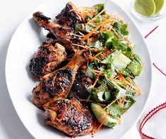 Grilled chicken with cucumber, carrot and Asian herb salad | Gourmet Traveller