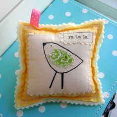 Hand Drawn, Fabric Appliqued Ornament  - - -  Fa la la, Birdie Bird- Yellow and Green